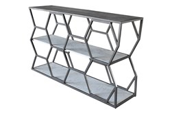 Grey Metal + Marble Sofa Table