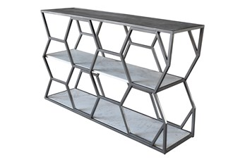 Grey Metal + Marble Sofa Table