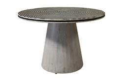 Round Black + White Bone Inlay Dining Table