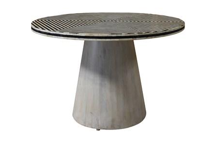 Round Black + White Bone Inlay Dining Table - Main