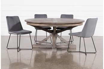 Paris 5 Piece Extension Dining Set With Sable Grey Chairs