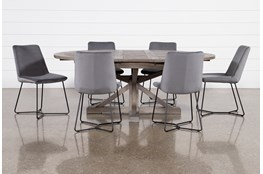 Paris 7 Piece Extension Dining Set With Sable Grey Chairs