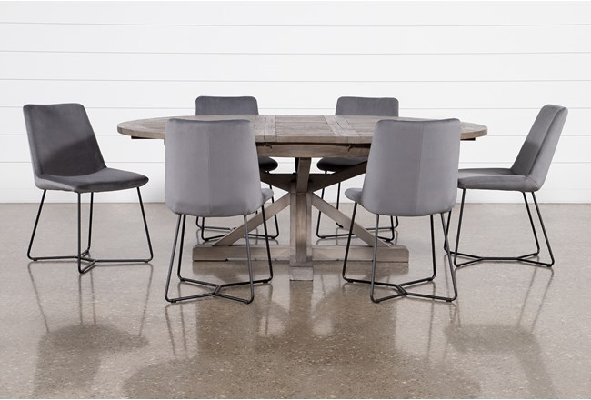 Paris 7 Piece Extension Dining Set With Sable Grey Chairs - 360