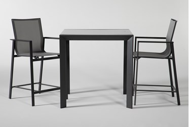 Ravelo Outdoor Square Bar Table With Sling Counter Stools