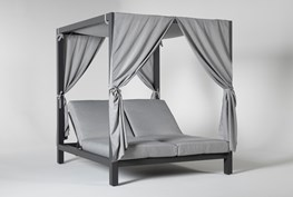 Ravelo Outdoor Double Chaise Daybed With Sunshade