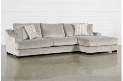 """Lodge Fog 2 Piece 139"""" Sectional With Right Arm Facing Oversized Chaise"""