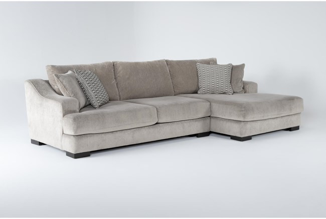 """Lodge Fog 2 Piece 139"""" Sectional With Right Arm Facing Oversized Chaise - 360"""