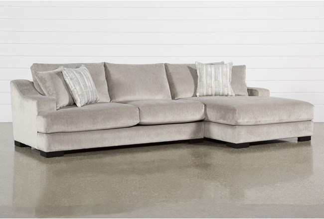 "Lodge Fog 2 Piece 139"" Sectional With Right Arm Facing Oversized Chaise - 360"