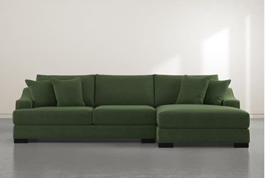 """Lodge Green 2 Piece 139"""" Sectional With Right Arm Facing Oversized Chaise"""