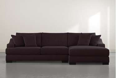 """Lodge Purple 2 Piece 139"""" Sectional With Right Arm Facing Oversized Chaise"""