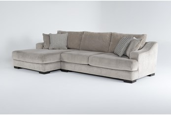 """Lodge Fog 2 Piece 139"""" Sectional With Left Arm Facing Oversized Chaise"""