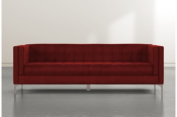 Wesley II Burgundy Velvet Estate Sofa