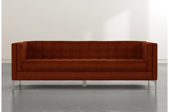 Wesley II Orange Velvet Estate Sofa