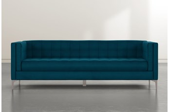 Wesley II Teal Blue Velvet Estate Sofa