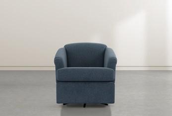 Aiko Denim Swivel Accent Chair
