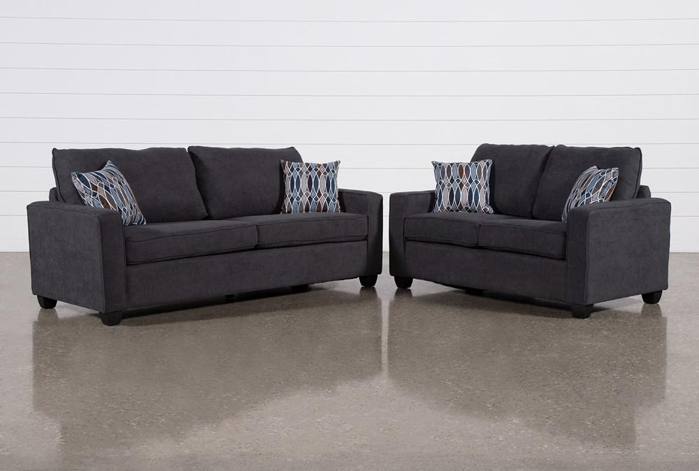 Reid Gunmetal 2 Piece Living Room Set