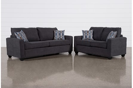 Reid Gunmetal 2 Piece Living Room Set