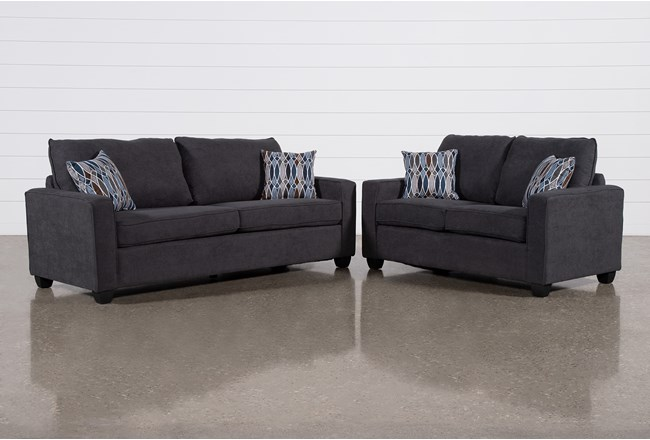 Reid Gunmetal 2 Piece Living Room Set - 360