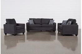 Reid Gunmetal 3 Piece Living Room Set