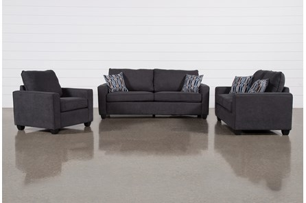 Reid Gunmetal 3 Piece Living Room Set