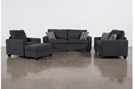 Reid Gunmetal 4 Piece Living Room Set