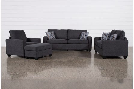 Reid Gunmetal 4 Piece Living Room Set
