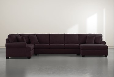 """Brody Purple3 Piece 163"""" Sectional With Right Arm Facing Chaise"""
