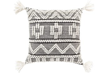 Accent Pillow-Knotted Stripes With Tassels Grey 18X18