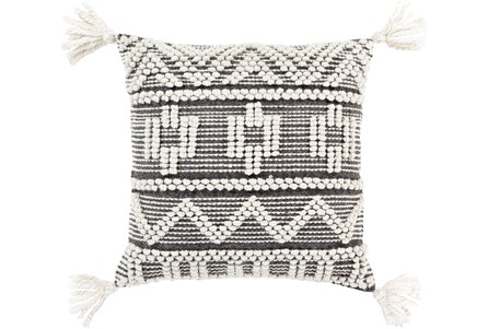 Accent Pillow-Knotted Stripes With Tassels Grey 18X18 - Main