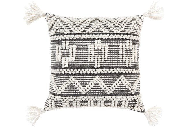 Accent Pillow-Knotted Stripes With Tassels Grey 18X18 - 360