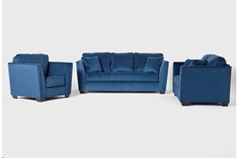 Maven Ink Blue 3 Piece Living Room Set