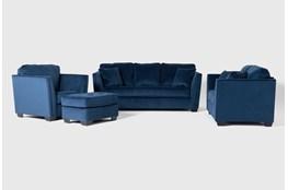 Maven Ink Blue 4 Piece Living Room Set
