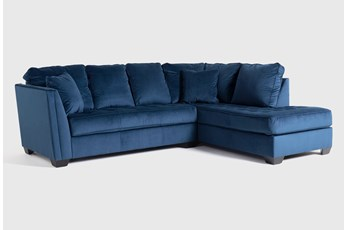 "Maven Ink Blue 2 Piece 112"" Sectional with Right Arm Facing Chaise"