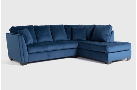 Maven Ink Blue 2 Piece Sectional with Right Arm Facing Chaise