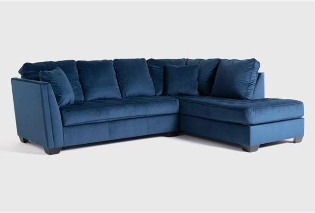 """Maven Ink Blue 2 Piece 112"""" Sectional with Right Arm Facing Chaise - 360"""