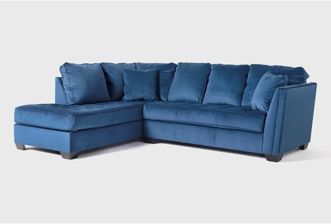 """Maven Ink Blue 2 Piece 112"""" Sectional with Left Arm Facing Chaise - 360"""