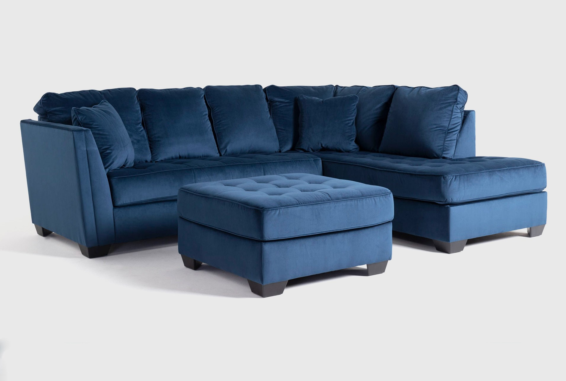 Maven Ink Blue 2 Piece Sectional With Right Arm Facing Chaise And Cocktail Ottoman Living Spaces