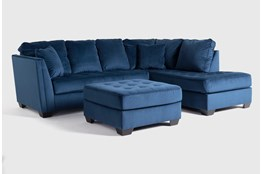 Maven Ink Blue 2 Piece Sectional With Raf Chaise And Cocktail Ottoman