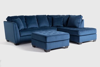 Maven Ink Blue 2 Piece Sectional With Right Arm Facing Chaise And Cocktail Ottoman