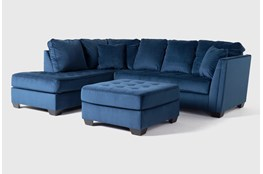 Maven Ink Blue 2 Piece Sectional With Left Arm Facing Chaise And Cocktail Ottoman