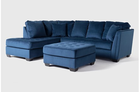 Maven Ink Blue 2 Piece Sectional With Laf Chaise And Cocktail Ottoman
