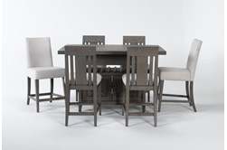 Concord 7 Piece Extension Counter Set With Wood And Upholstered Back Stools
