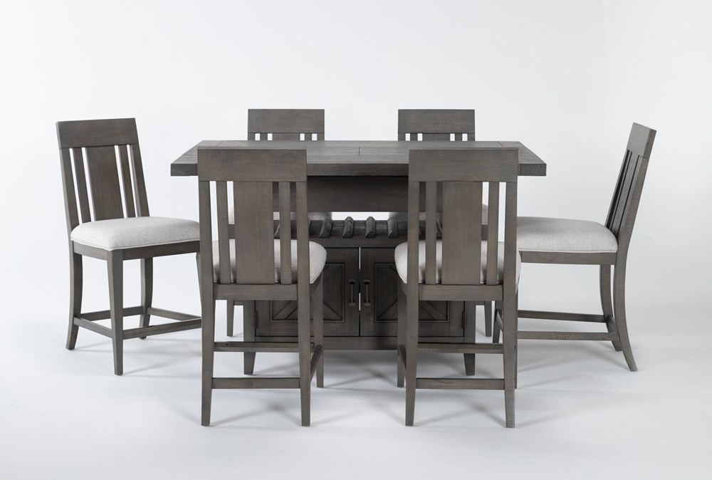 Concord 7 Piece Extension Counter Set With Wood Back Stools