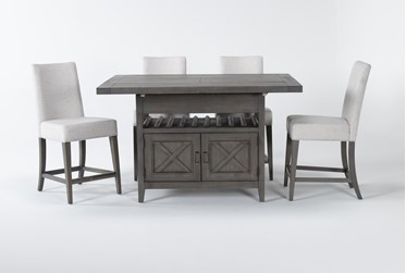 Concord 5 Piece Extension Counter Set With Upholstered Back Stools