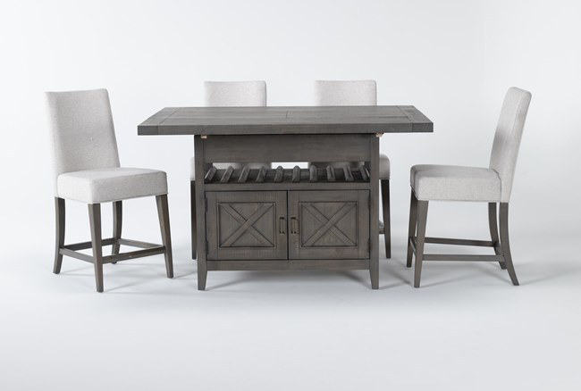 Concord 5 Piece Extension Counter Set With Upholstered Back Stools - 360