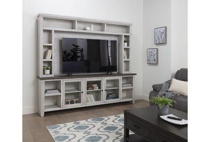 Dixon White 97 Inch Tv Stand With Glass Doors Living Spaces
