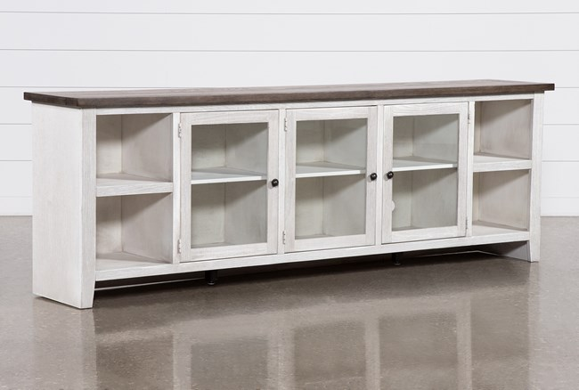 Dixon White 97 Inch Tv Stand With Glass Doors - 360