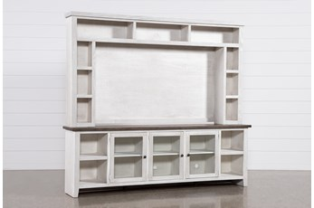 "Dixon White 97"" 2 Piece Entertainment Center With Glass Doors"