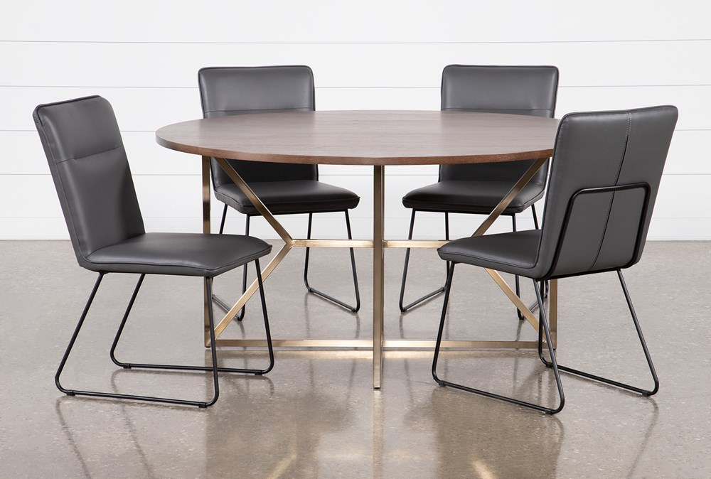 Trina Round 5 Piece Dining Table With Kylie Grey Chairs