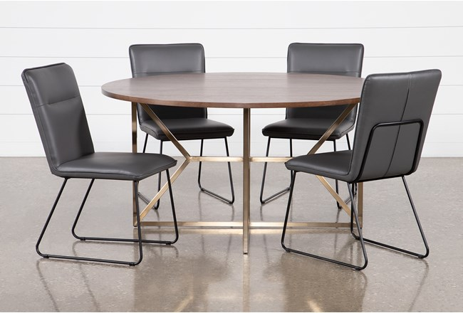 Trina Round 5 Piece Dining Table With Kylie Grey Chairs - 360